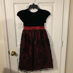Girls Holiday dress black and red with lace overla